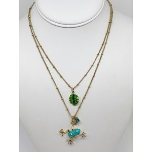 Betsey Johnson Frog Necklace Double Strand